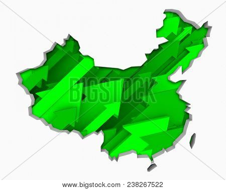 China Arrows Map Growth Increase On Rise 3d Illustration