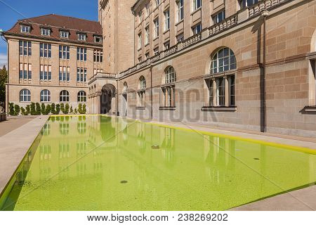 Zurich, Switzerland - 13 October, 2013: Square And Water Pool In Front Of The The Main Building Of T