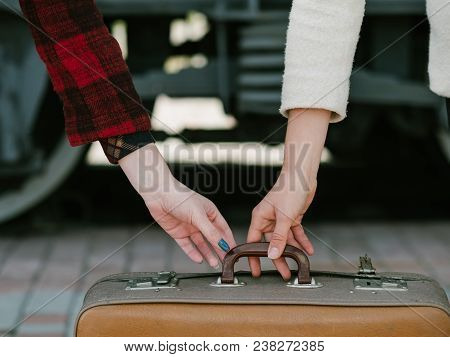 Travel Safety. Scam Theft Danger. Trip Voyage Holiday Vacation Concept. Woman Trying To Steal Baggag