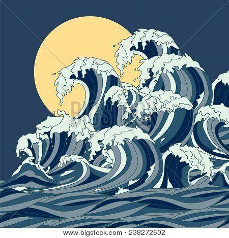 Wave Vector Illustration Japanese Motif. Japan Background. Hand Drawn Illustration Of Japan. Sea Wav