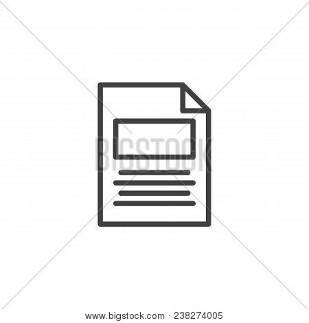 Txt File Outline Icon. Linear Style Sign For Mobile Concept And Web Design. Paper Document Simple Li