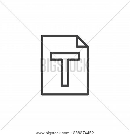 Txt File Format Outline Icon. Linear Style Sign For Mobile Concept And Web Design. Text Paper Docume