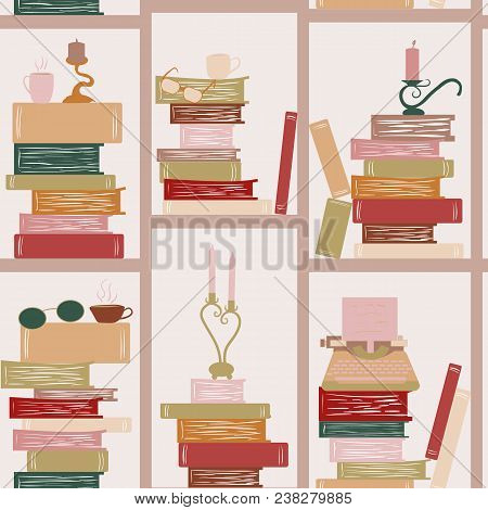 Seamless Pattern, Bookshelf Writer. Books, Candles, Glasses, Typewriter. Library Book Shelf Backgrou