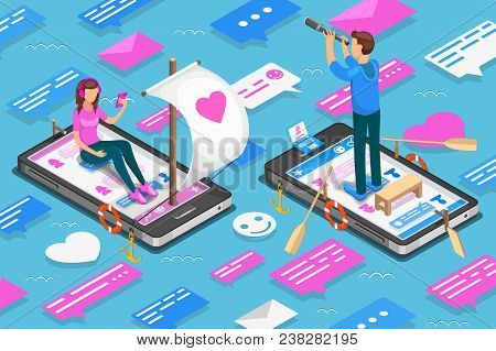 Virtual Relationships And Online Dating Isometric Concept. Teenagers Are Looking For A Couple In Soc