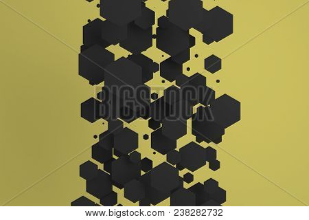 White Hexagons Of Random Size On Yellow Background