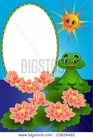 illustration frame lily and frog on turn blue background poster