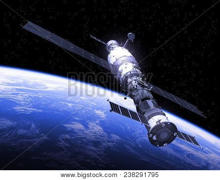 Spasecraft And Space Station In Space. 3d Illustration.