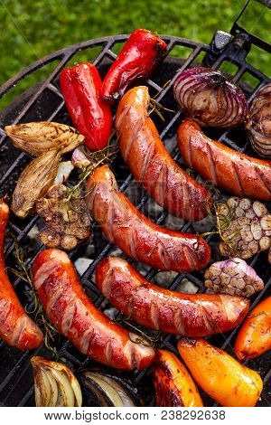 Grilled Sausages And Vegetables On A Grilled Plate, Outdoor, Top View Grilled Food, Bbq