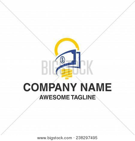 Bulb Lamp With Money Logo. Innovations Idea Financial Symbol. Logo Template Ready For Use