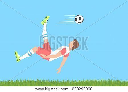 Soccer Shot With The Cycling Motion. Stunning Overhead Kick Or Bicycle Kick As Advanced Football Ski