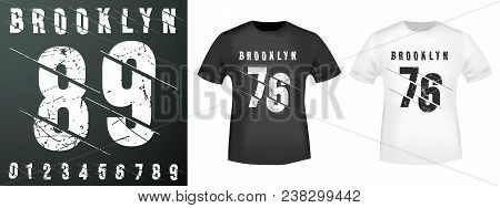Brooklyn Numbers Stamp And T Shirt Mockup. T-shirt Print Design. Printing And Badge Applique Label T