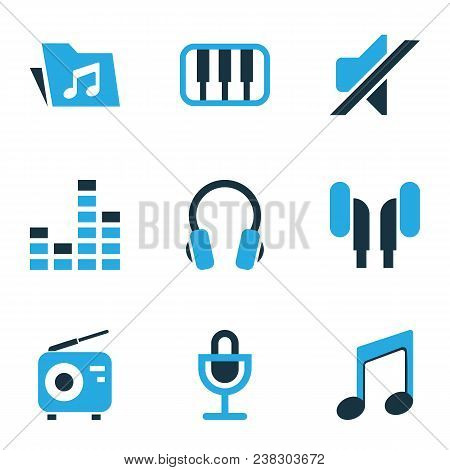 Audio Icons Colored Set With Tuner, Music, Earphone And Other Mixer Elements. Isolated Vector Illust