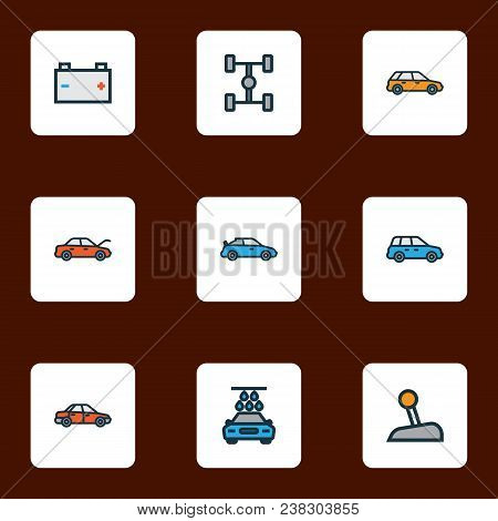 Automobile Icons Colored Line Set With Sedan, Carwash, Crossover And Other Machine  Elements. Isolat