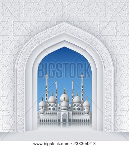 Illustration Of Arch With Mosque, Geometric Pattern, Background For Ramadan Kareem Greeting Cards, E