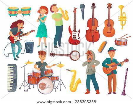 Cartoon Young Female And Male Singers With Microphones And Musician Characters With Music Instrument