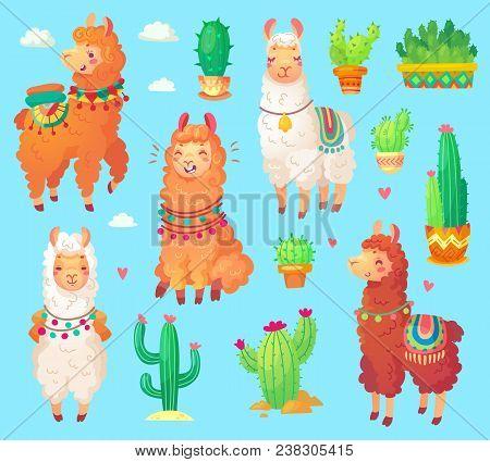 Mexican Cartoon Cute Alpaca With White Wool, Peru Desert Llama And Cactus Isolated. Funny Lama Anima