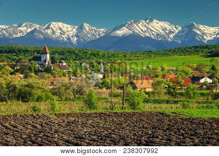 Breathtaking Spring Countryside Landscape, Church Of Hosman And High Snowy Fagaras Mountains In Back