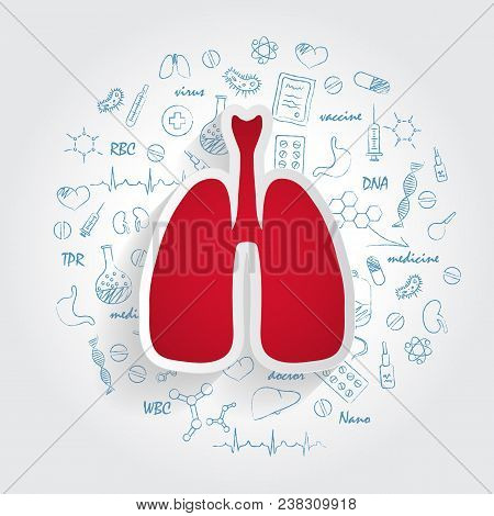 Icons For Medical Specialties. Pulmonology And Lungs Concept. Vector Illustration With Hand Drawn Me