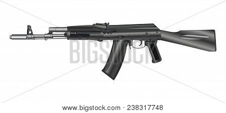 Automatic Weapon, Automatic Gun, Isolated On White Background. Vector Illustration