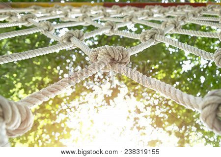 Climb Net Rope Close Up Background And Textures,rope Netting As Healthy Exercise,rope Net For Advent