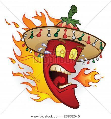 Flammenden Sombrero-Chili-Schote
