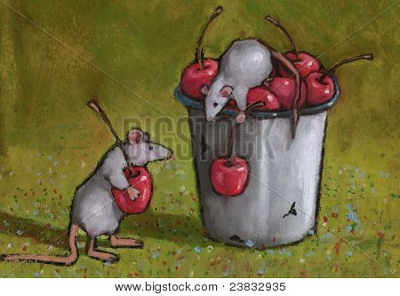 Oil pastel painting of two little mice busy stealing some cherries from an old-fashioned enamel bucket. poster