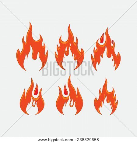 Red Fire Flames Symbols, Icons Vector Set. Fire Power Tattoo And Hot Flame Fire For Brand Or Logo Il