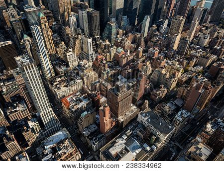 Wide-angle Arial View Of Mid-town Manhattan During Daytime