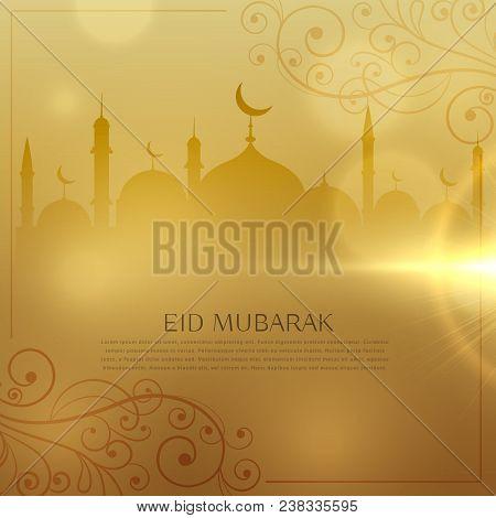 Beautiful Golden Background For Eid  Mubarak Islamic Festival