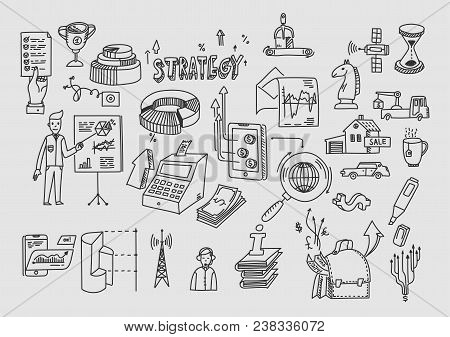 Hand Draw Doodle Elements. Business Finance Analytics Earnings.