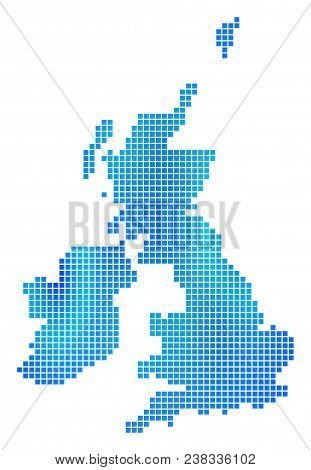 Blue Pixel Great Britain And Ireland Map. Vector Geographic Map In Blue Color Variations. Vector Col