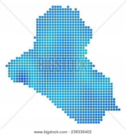 Blue Dotted Iraq Map. Vector Geographic Map In Blue Color Shades. Vector Mosaic Of Iraq Map Made Wit