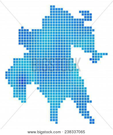Blue Dotted Peloponnese Half-island Map. Vector Geographic Map In Cold Blue Color Tints. Vector Comp
