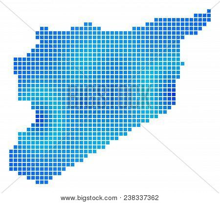Blue Dot Syria Map. Vector Geographic Map In Blue Color Variations. Vector Mosaic Of Syria Map Const