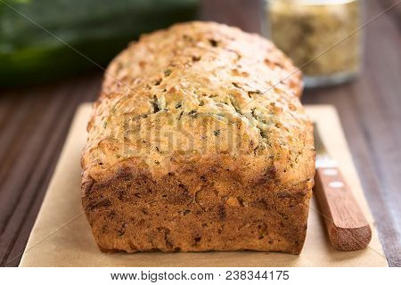 Loaf Of Fresh Homemade Zucchini And Walnut Quick Bread (selective Focus, Focus On The Front Upper Ed