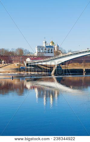Architecture Spring Landscape Of Veliky Novgorod Russia - Veliky Novgorod Kremlin And Footbridge Acr
