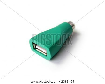 Green Plactic PS/2 to USB mouse adapter poster