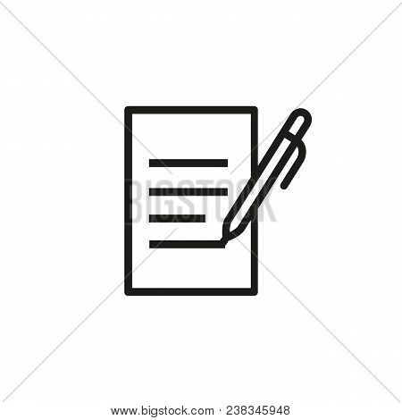 Icon Of Pen And Document. Filling Document, Checklist, Essay. Correspondence Concept. Can Be Used Fo