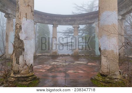 Rotunda Of The Abandoned Building Of The Former Restaurant On The Top Of Mount Akhun In Dense Fog, S