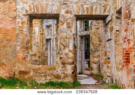 The Inner Room With Gaps In The Wall Of The Abandoned Old Mansion Called Dacha Kvitko, Sochi, Russia