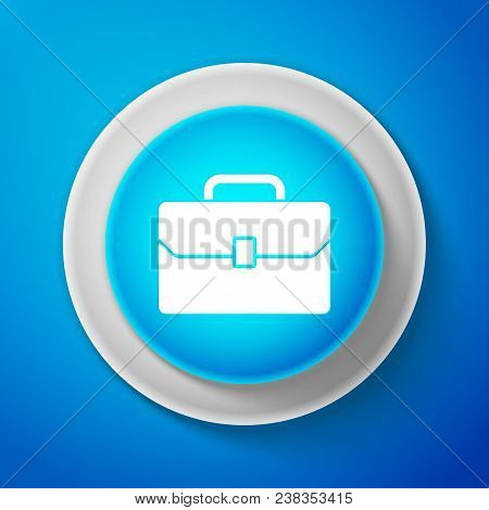 White Briefcase Icon Isolated On Blue Background. Business Case Sign. Circle Blue Button With White