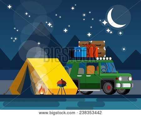 Camping. Car With A Tent And Bonfire In The Evening In A Flat Style. The Concept Of Camping And Outd