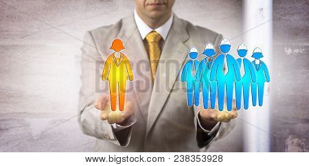 Unrecognizable Manager Balancing A Female White Collar Manager Versus A Group Of Five Blue Collar Wo