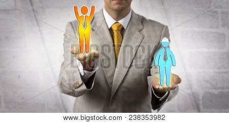 Unrecognizable Male Manager Elevating A Cheering White Collar Worker Above A Static Blue Collar Empl