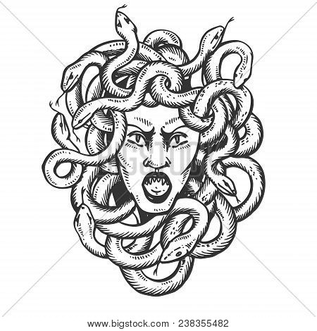 Medusa head with snakes greek myth creature engraving vector illustration. Scratch board style imitation. Black and white hand drawn image. poster
