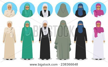 Social And Family Concept. Detailed Illustration Of Different Standing Arab Old Women In The Traditi