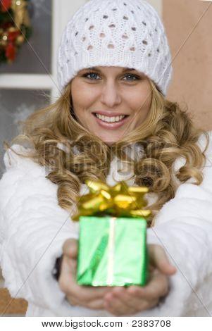 Woman With Christmas Holiday Gift
