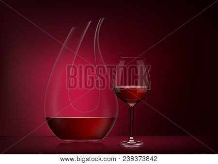 Vector Illustration In Photorealistic Style.image Of A Realistic Glass Transparent Decanter With Win