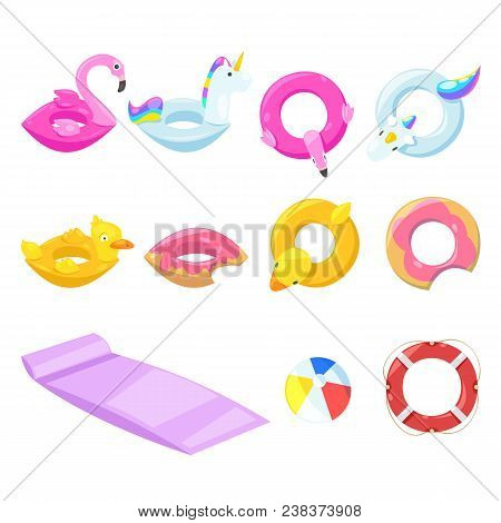Pool Cute Kids Inflatable Floats, Vector Isolated Design Elements. Unicorn, Flamingo, Duck, Ball, Do
