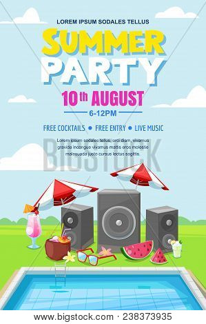 Summer Pool Party, Vector Poster, Banner Layout. Music Loudspeakers, Cocktails Near Swimming Pool. F